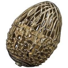 Modern 20th Century Solid Silver Gem Set Egg Shaped Trinket Box, London