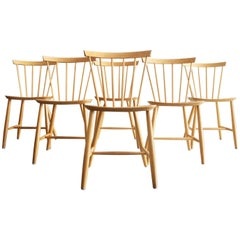 Set of Six Birch Dining Chairs by Poul Volther