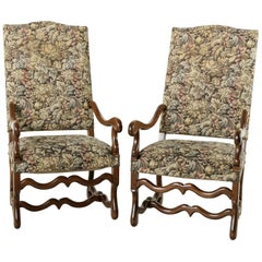 Pair of Walnut Louis XIV Style Mutton Leg Armchairs with Tapestry, circa 1900
