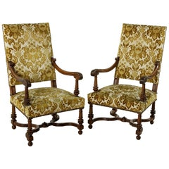 Pair of Late 19th Century French Hand-Carved Walnut Louis XIV Style Armchairs