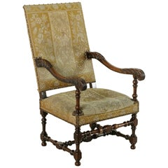 Late 19th Century Hand-Carved Walnut Louis XIV Style Armchair with Needlepoint