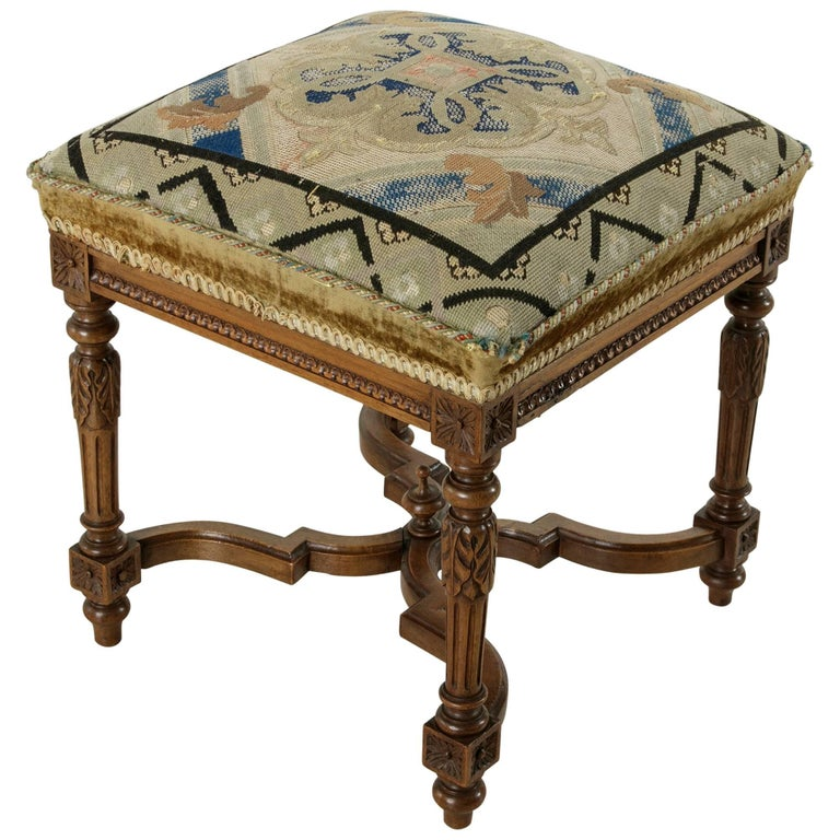 19th Century Hand-Carved Walnut Louis XVI Style Vanity Stool with Needlepoint
