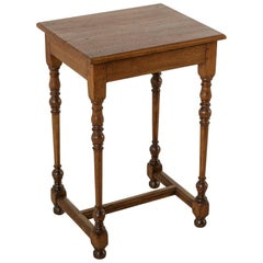Small French Artisan-Made Hand Pegged Oak Side Table or Nightstand, circa 1900