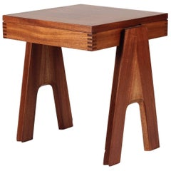 Midcentury Rare and early Square Mahogany Side Table by Angelo Mangiarotti