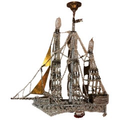 Wonderful Vintage Beaded Crystal Italian Boat Ship Chandelier Light Fixture