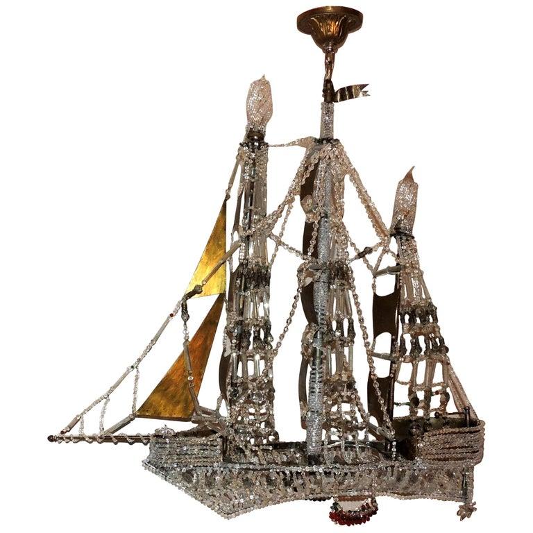 Wonderful Vintage Beaded Crystal Italian Boat Ship Chandelier Light Fixture