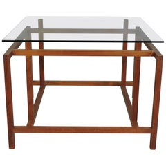 Danish Modern Teak and Glass Side End Table by Henning Norgaard for Komfort