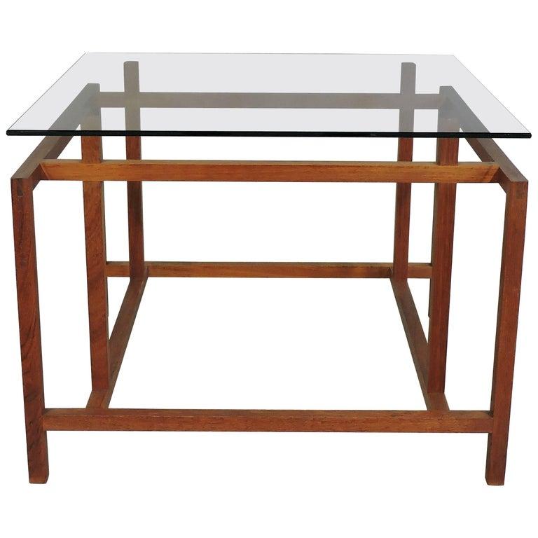 Henning Norgaard Danish Modern Teak and Glass Side Table for Komfort