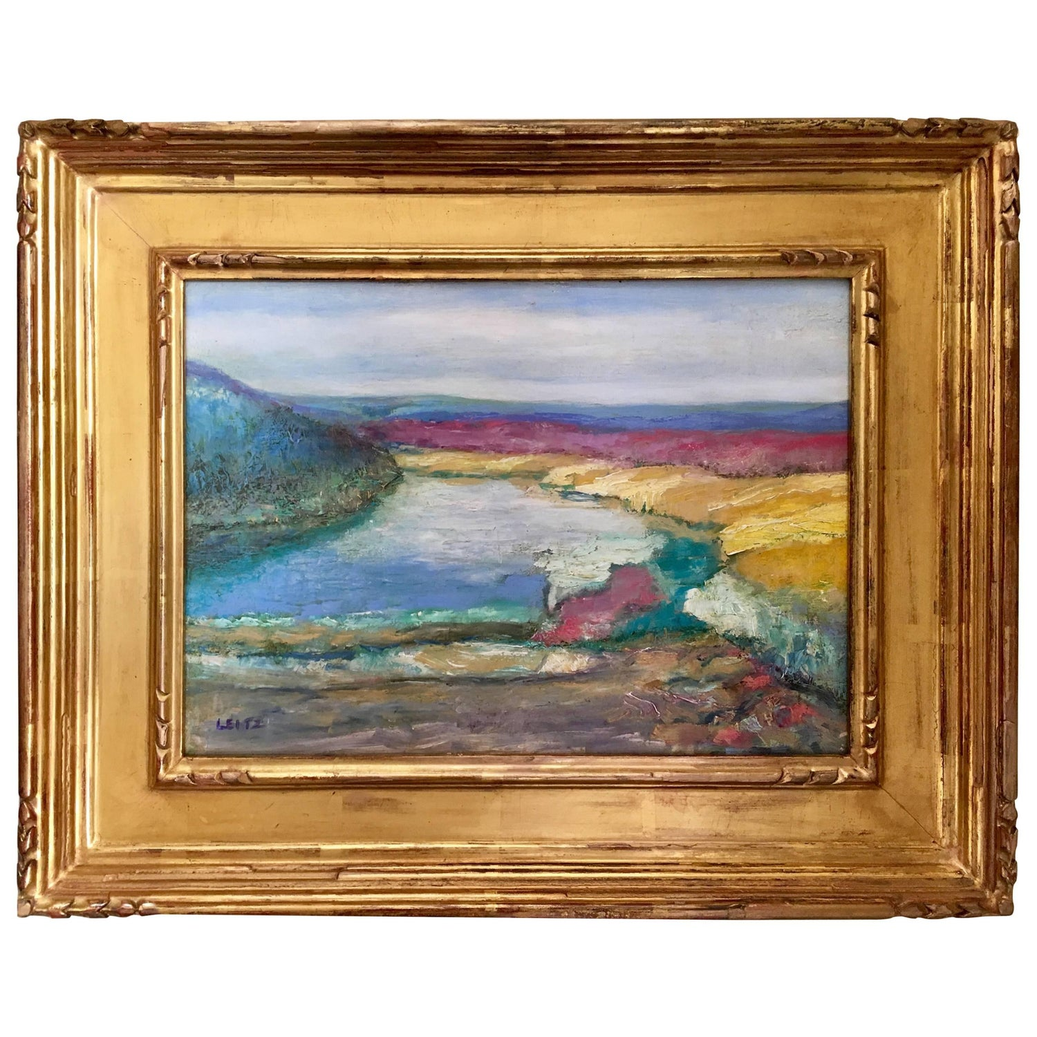 Connecticut watercolor artists directory - Jeffrey Leitz Original Signed Painting Connecticut Landscape Abtract For Sale At 1stdibs