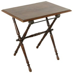 Late 19th Century Folding French Campaign Style Table Rosewood and Mahogany Top