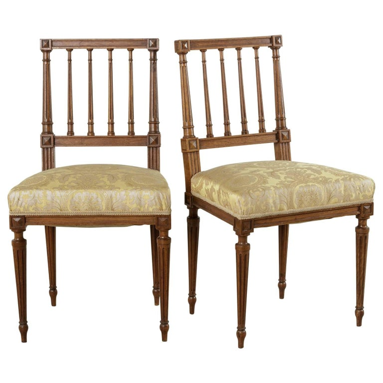 Pair of Late 19th Century French Hand-Carved Walnut Louis XVI Style Side Chairs