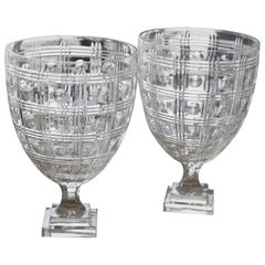 Pair of Cut Crystal Adam Style Urns