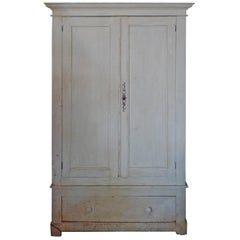 French Painted Pine Armoire with Two Doors, Three Shelves and One Bottom Drawer