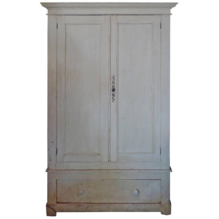 French Painted Pine Armoire With Two Doors Three Shelves