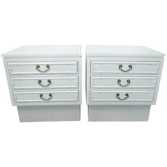 Pair of White Lacquered Ficks Reed Nightstands