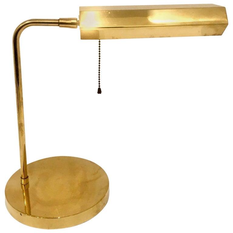 Modernist Polished Brass Multidirectional Desk Arm Lamp