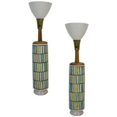 Large Pair of Italian Ceramic Table Lamps by Raymor, circa 1950s