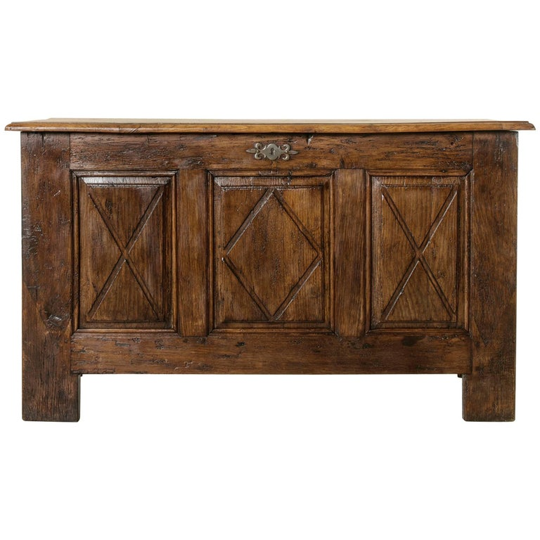 19th Century French Hand Pegged Oak Louis XIII Style Coffer Desk, Six Drawers