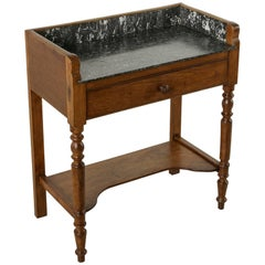 Late 19th Century French Oak Console Table or Dry Bar with Saint Anne Marble Top