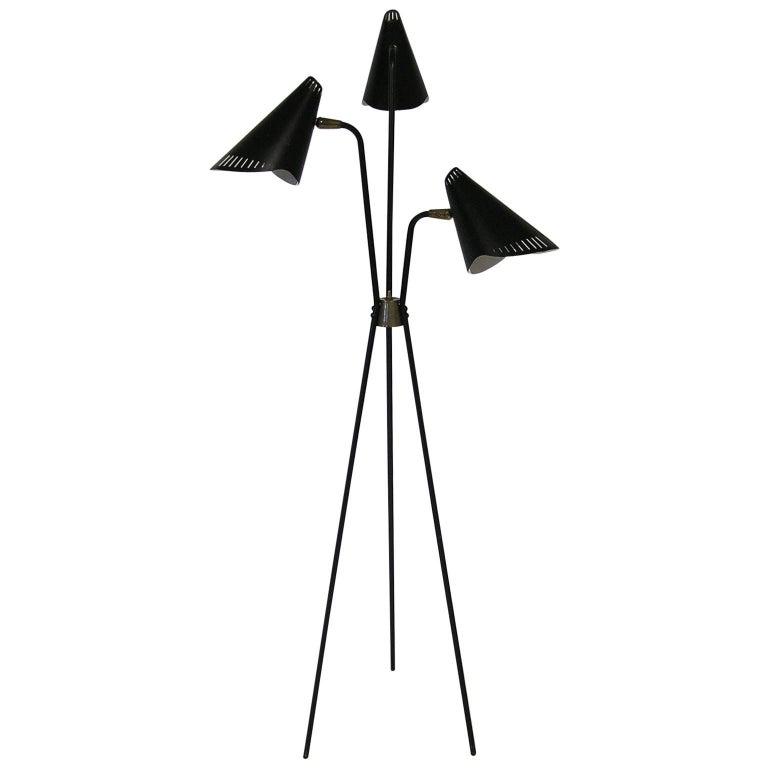 Rare 1950s Gerald Thurston Black Tripod-Leg Floor Lamp by Lightolier