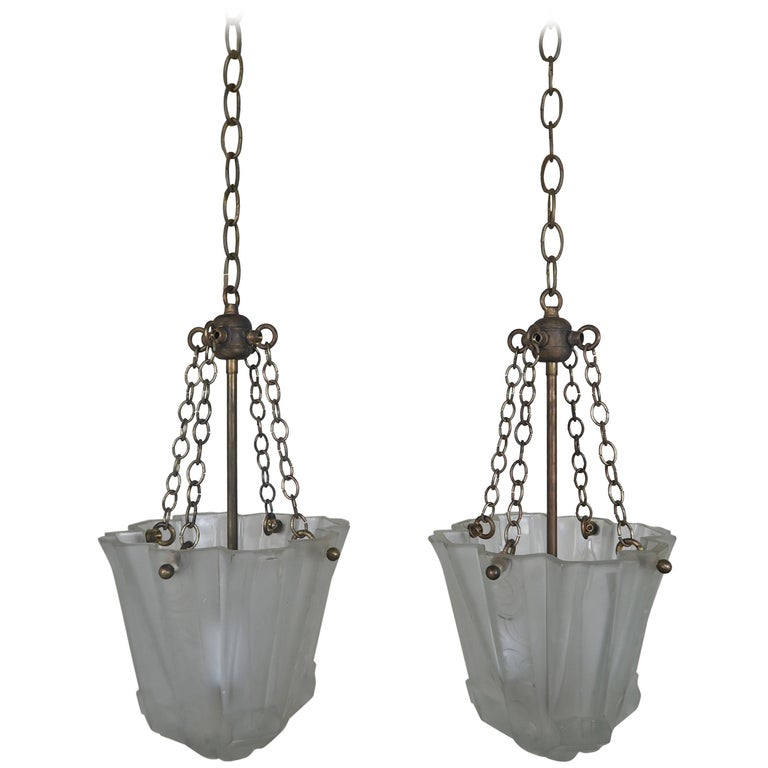 Pair of art nouveau hanging light fixtures for sale at 1stdibs for Art nouveau lighting fixtures