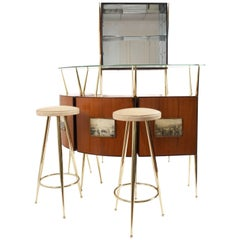 Midcentury Italian Design, Dry Bar in the Style of Gio Ponti, 1950s
