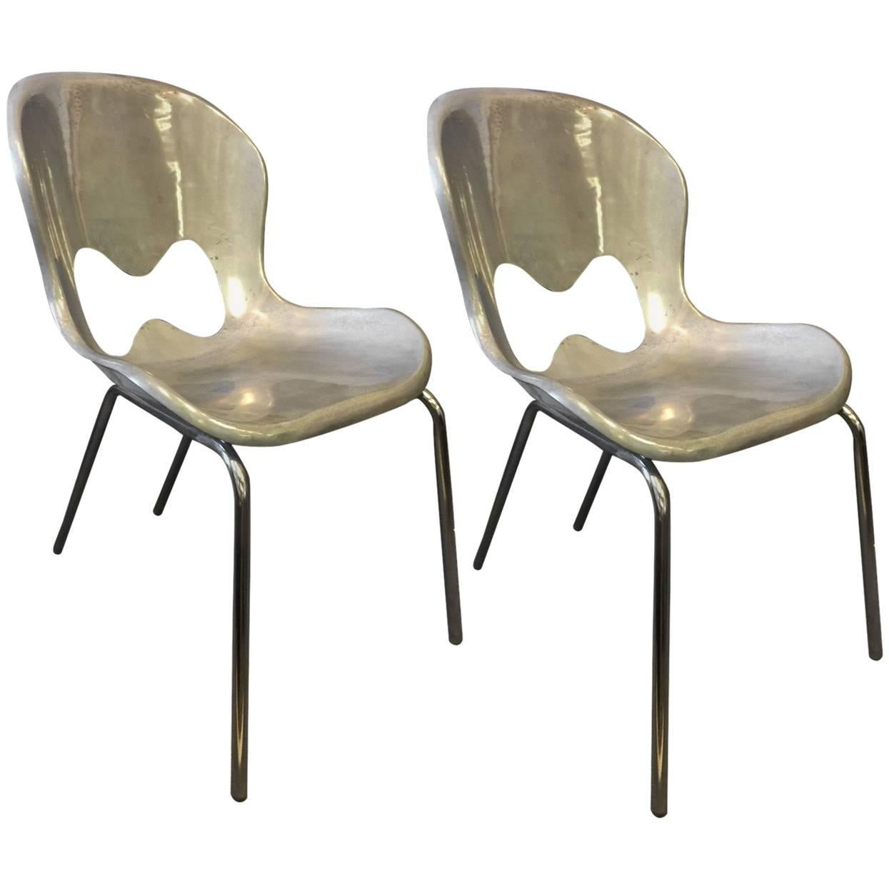 Pair Of Stainless Steel Chairs By Karim Rashid For Umbra For Sale