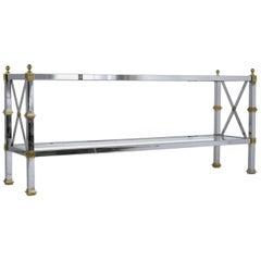 Hollywood Regency-Style Chrome and Glass Sofa Table
