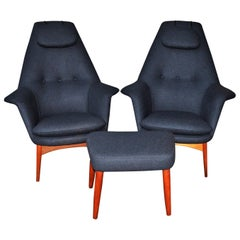 Pair of Teak Manta Ray Chairs and Ottoman in Charcoal Wool by Bjorn Engo for DUX