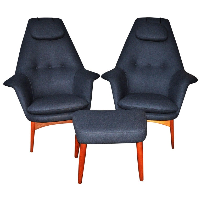 Pair Of Teak Manta Ray Chairs And Ottoman In Charcoal Wool