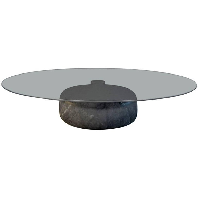 Inoa, Contemporary Marble Coffee Table by Christophe Pillet with Glass Top  For Sale