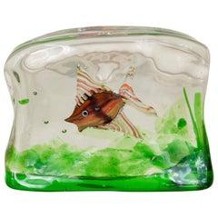 1950s Murano Art Glass Fish Aquarium Sculpture by Riccardo Licata, Cendese