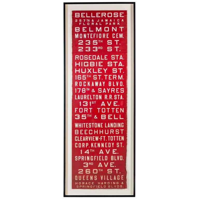 Red and White Graphic New York Bus Subway Destination Sign