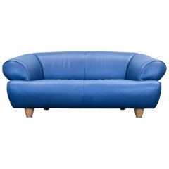 De Sede DS 91 Designer Sofa Leather Blue Two-Seat Couch Modern