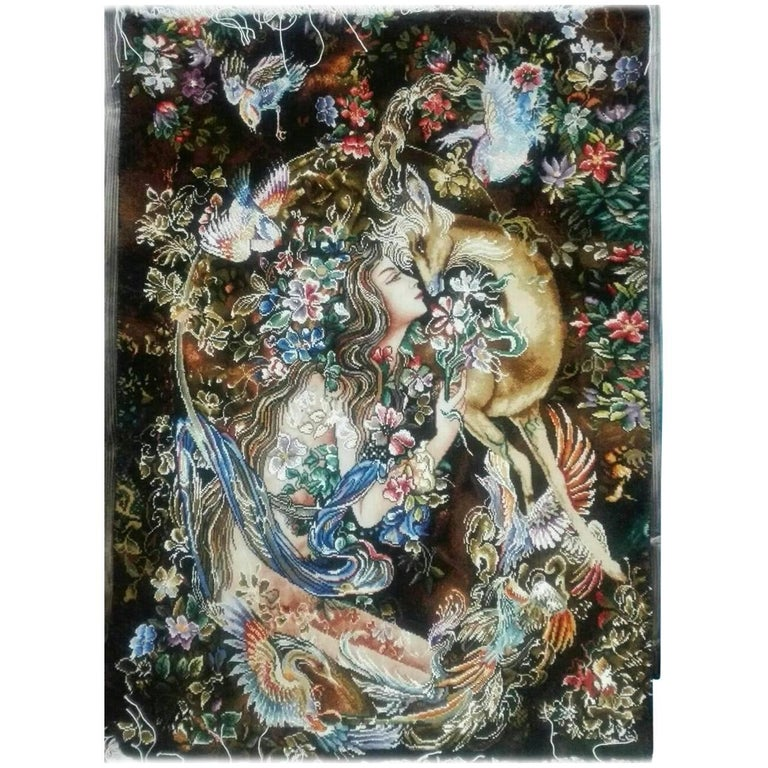 Master Farshchian Inspiration, Hand-Knotted Wall Carpet Genuine Persian Tabriz