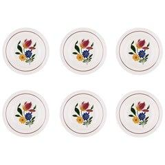 Vintage French Decorative Soup Plates, Set of Six