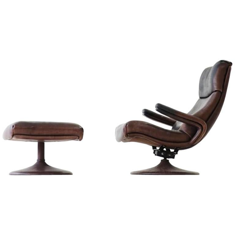 De Sede Lounge Swivel Arm Relax Chair and Ottoman