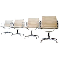 Set of Four Eames Herman Miller Alu Office Conference Dining Chair EA 107