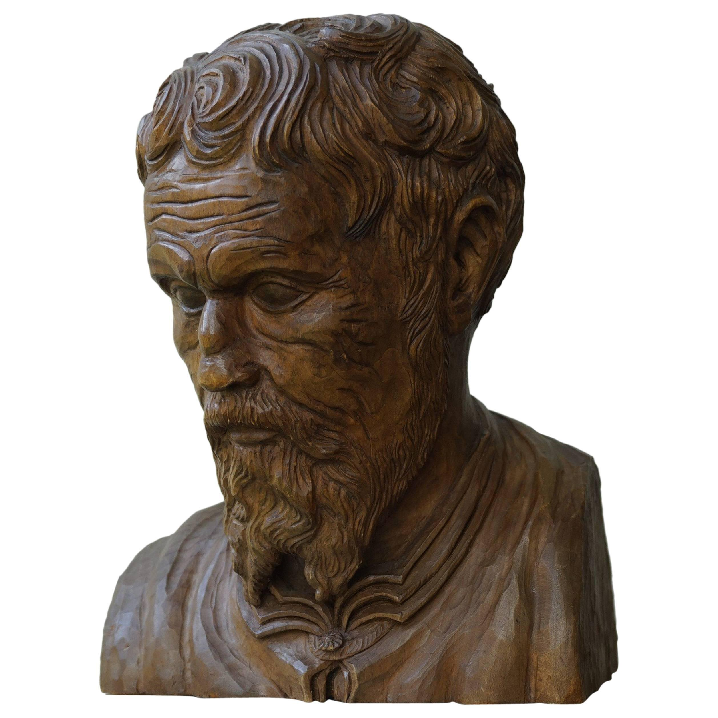 Unique Hand-Carved Sculpture/Bust of Michelangelo Buonarroti by Walther Kieser