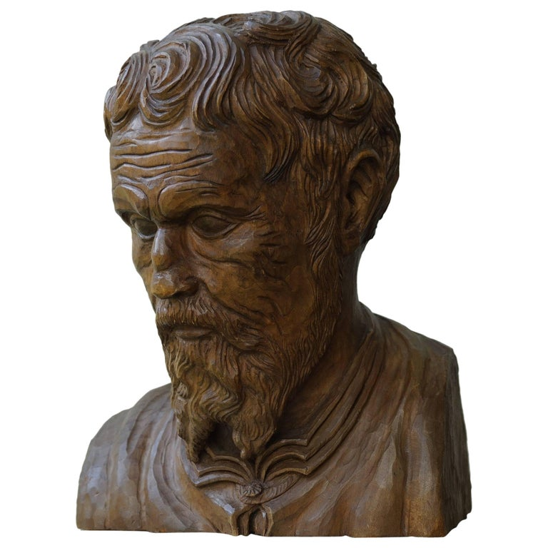 Unique hand carved sculpture bust of michelangelo