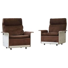 Set of Two Lounge Armchairs Dieter Rams for Vitsoe, RZ 62 620, Nubuck Leather