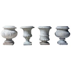 Fine Group of Four Neoclassical Revival White Marble Urns, circa 1900-1925