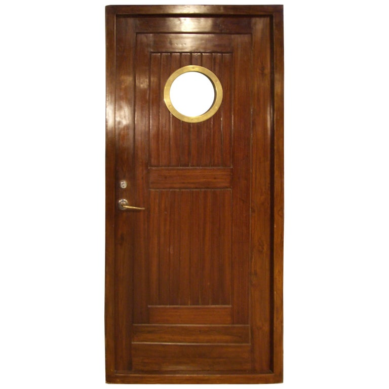 Beautiful Teak Cabin Door with Brass Porthole For Sale at 1stdibs