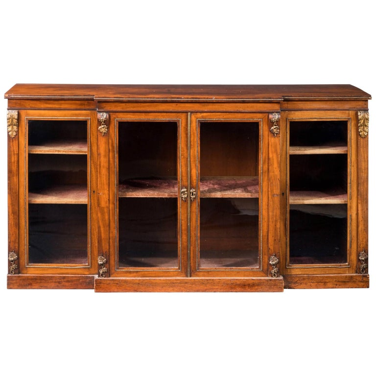 Mid-19th Century Well Figured Mahogany Breakfront Side Cabinet