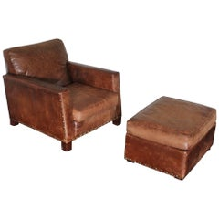 "Ralph Lauren ""Club"" Armchair and Ottoman in Vintage Brown Leather"