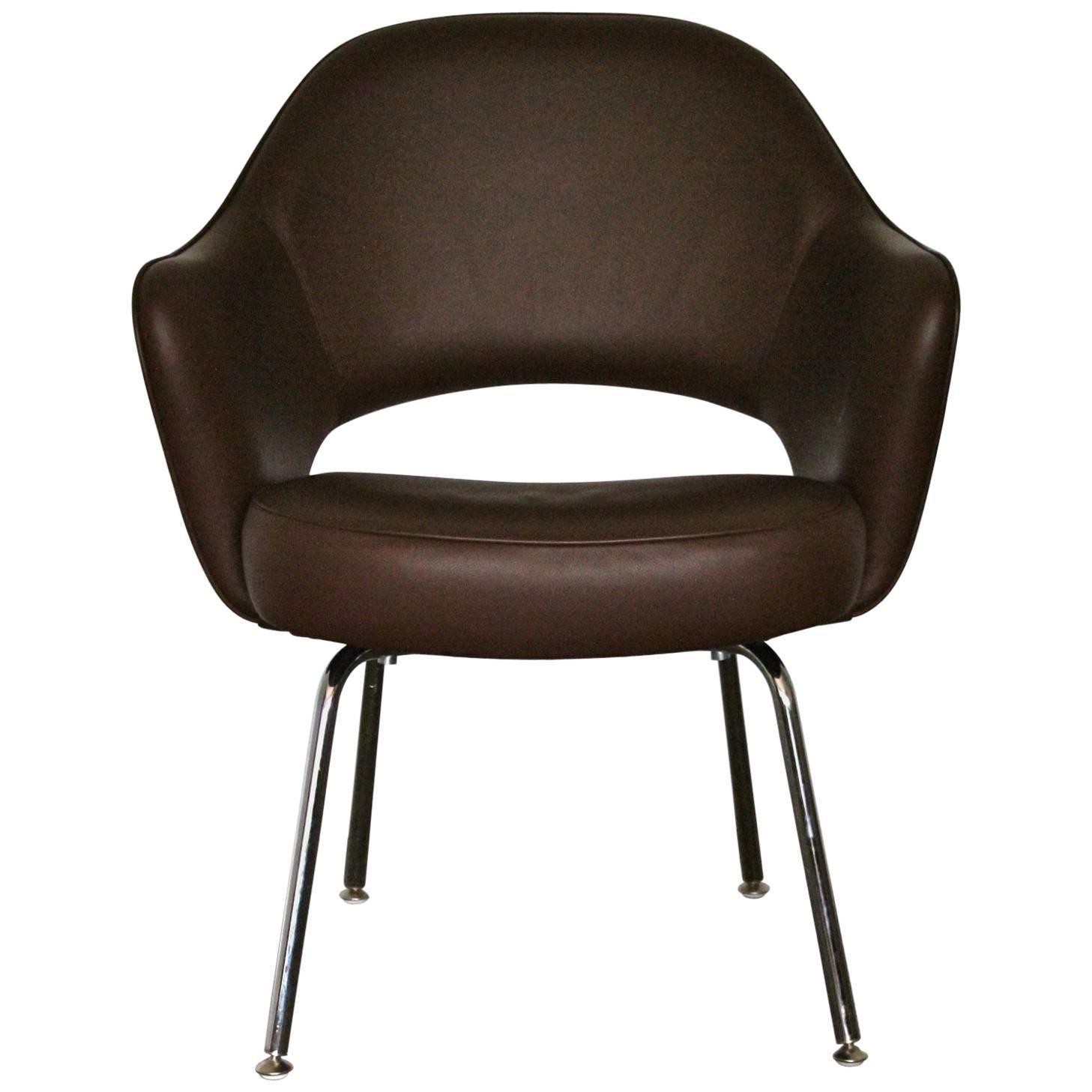 Knoll Studio U201cSaarinen Executiveu201d Armchair In U201cVolou201d Brown Leather