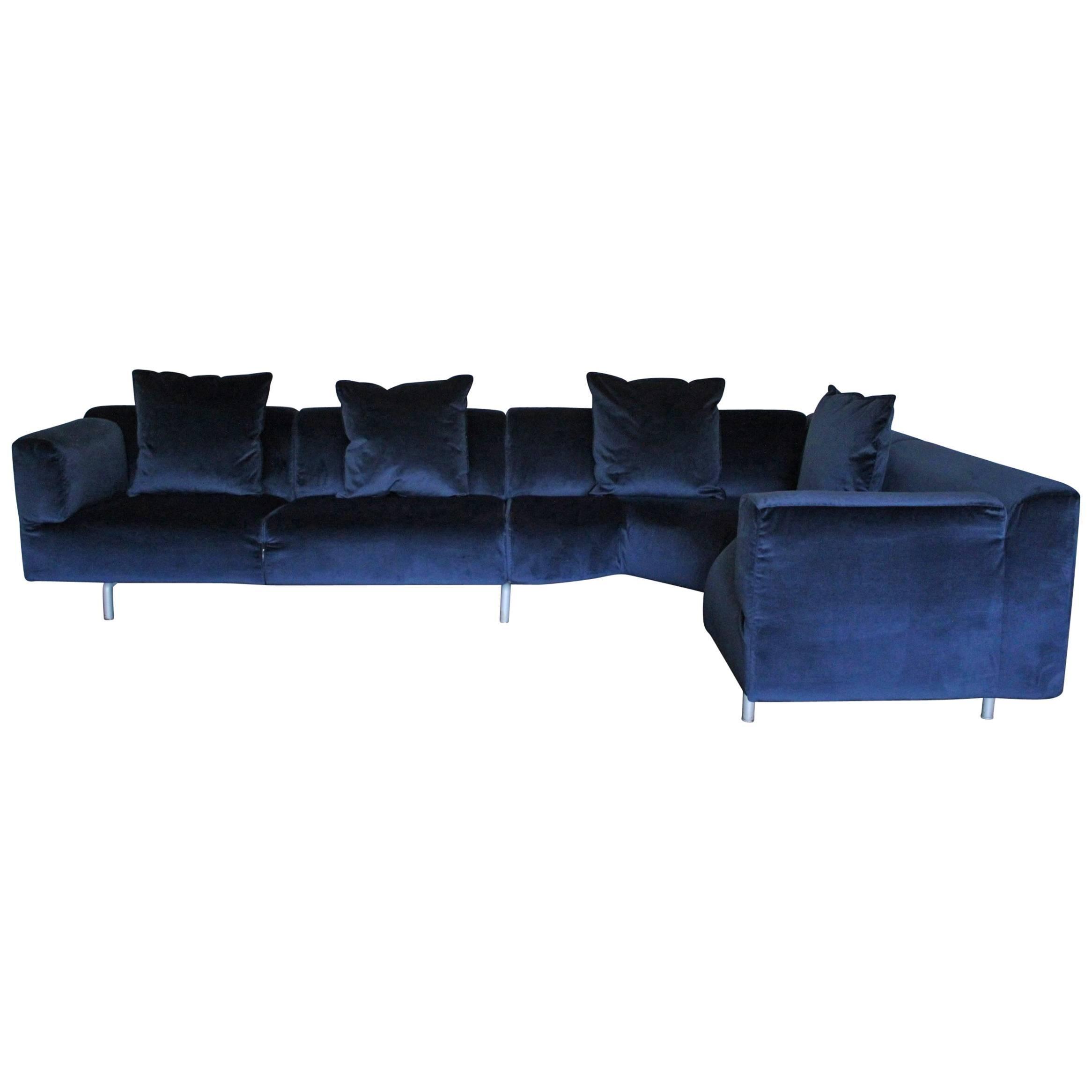 """Cassina """"250 Met"""" L-Shape Sectional Sofa in Navy Blue Velvet For ..."""