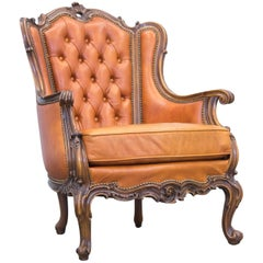 Chesterfield Baroque Leather Armchair Cognac Brown Three-Seat Couch Wood Retro
