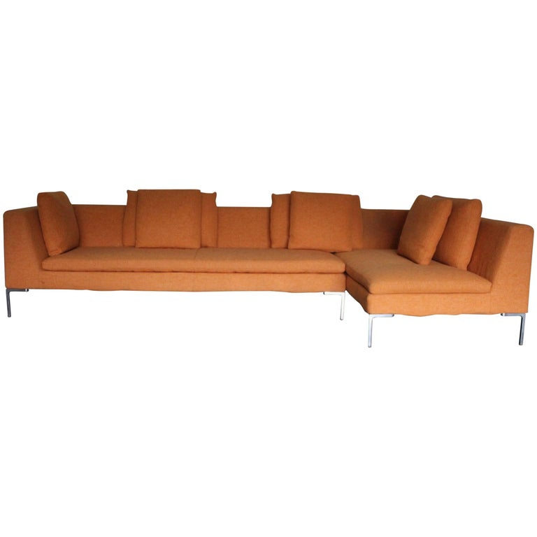 b b italia charles l shape sectional sofa in orange sarabi fabric for sale at 1stdibs. Black Bedroom Furniture Sets. Home Design Ideas