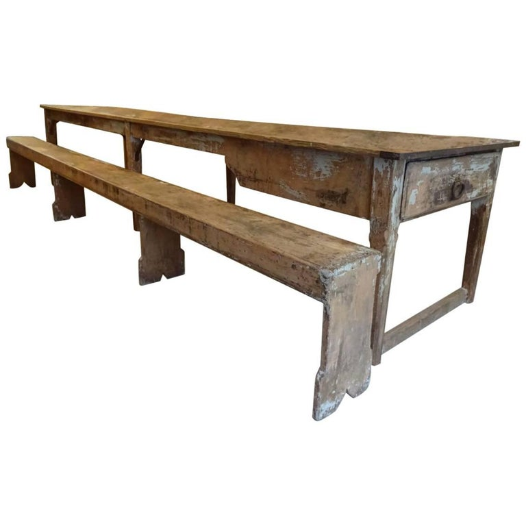 Late 19th Century Refectory Table and Bench